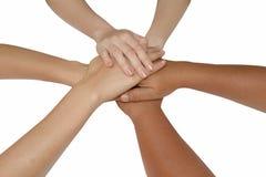 Concept de travail d'équipe, mains de jointure d'équipe d'affaires liant la Co Photo libre de droits