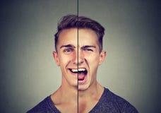 Concept de trouble bipolaire Jeune homme avec la double expression de visage image stock