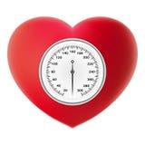 Concept de vérification de tension artérielle de sang artériel Tonometer sur le coeur rouge d'isolement sur un fond blanc Vecteur Images stock