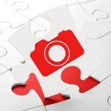 Concept de vacances : Appareil-photo de photo sur le puzzle Photos libres de droits