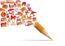 Concept de vacances avec un crayon qui s'échappe du pictogramme symbolisant le bonheur et les loisirs illustration de vecteur