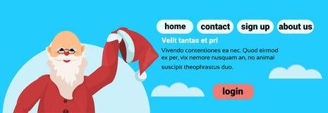 Concept de vacances de bonne année de Joyeux Noël du père noël à plat d'isolement illustration de vecteur