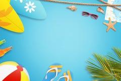 Concept de vacances d'été Fond bleu avec l'espace libre pour le texte Images libres de droits