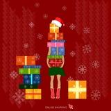 Concept de vacances de cadeaux de Noël d'achats de Noël Photo libre de droits