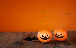 Concept de vacances de Halloween Potirons, araignées et batte mignons Photographie stock libre de droits
