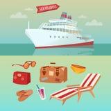 Concept de vacances de mer avec le bateau de croisière illustration stock
