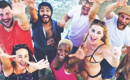 Concept de vacances de vacances d'amitié de plage d'été Images libres de droits