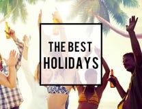 Concept de vacances de vacances d'amitié de plage d'été le meilleur Photo libre de droits