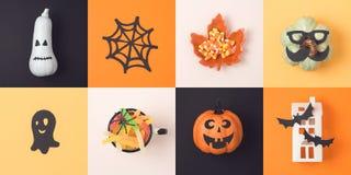 Concept de vacances de Halloween avec la lanterne et les décorations du cric o Image libre de droits