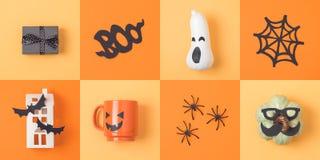 Concept de vacances de Halloween avec le potiron et les décorums de lanterne du cric o Photo libre de droits