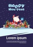 Concept de vacances de Joyeux Noël de carte de voeux de nouvelle année de Sanata Claus With Elfs On Happy Illustration Libre de Droits