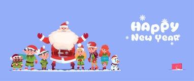 Concept de vacances de Joyeux Noël de carte de voeux de nouvelle année de Santa Claus With Elfs On Happy illustration de vecteur