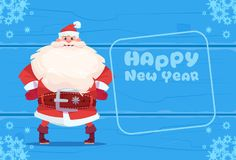 Concept de vacances de Noël de carte de voeux de Santa Claus On Happy New Year Photos libres de droits