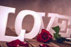 Concept de valentine de vintage avec amour Image libre de droits