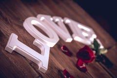 Concept de valentine de vintage avec amour Photographie stock