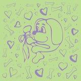 Concept de vecteur avec le chien, les os et les coeurs mignons illustration stock