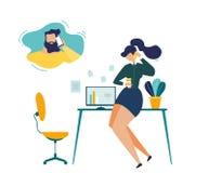 Concept de vecteur de Calling Husband Flat de femme d'affaires illustration stock