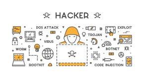 Concept de vecteur des crimes de entailler et de cyber Images stock