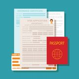 Concept de vecteur des documents pour l'ensemble d'application de visa Images stock