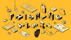 Concept de vecteur de projection isométrique d'alerte de Phishing illustration de vecteur