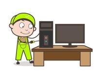 Concept de vecteur de Repairing Office Computer d'électricien de bande dessinée Image libre de droits