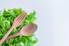 Concept de Vegan avec de la laitue fraîche et cuillère et fourchette en bois Photographie stock libre de droits