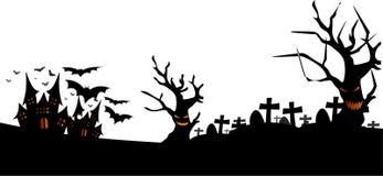 Concept de Veille de la toussaint fond arbres fantasmagoriques et de cimetière de châteaux de vieux Rebecca 36 illustration libre de droits