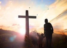 Concept de Vendredi Saint : illustration de crucifixion de Jesus Christ sur le Vendredi Saint Images stock