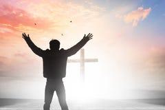 Concept de Vendredi Saint : illustration de crucifixion de Jesus Christ sur le Vendredi Saint Photographie stock libre de droits