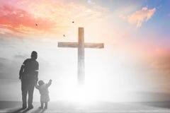 Concept de Vendredi Saint : illustration de crucifixion de Jesus Christ sur le Vendredi Saint Photos stock