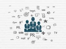 Concept de vente : Équipe d'affaires sur le fond de mur Image stock