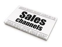 Concept de vente : canaux de ventes de titre de journal illustration libre de droits