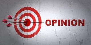 Concept de vente : cible et opinion sur le fond de mur Images stock