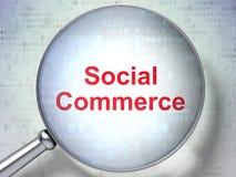 Concept de vente : Commerce social avec le verre optique Image libre de droits