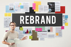 Concept de vente d'identité d'entreprise de changement de Rebrand Photos libres de droits
