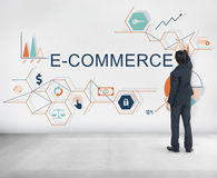 Concept de vente de Digital d'affaires globales de commerce électronique Photos stock