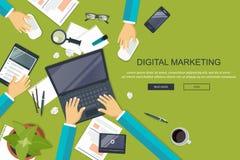 Concept de vente de Digital Bureau avec l'équipement Vecteur plat illustration libre de droits