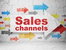 Concept de vente : flèche avec des canaux de ventes sur le fond grunge de mur illustration de vecteur
