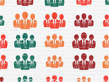 Concept de vente : Gens d'affaires d'icônes sur le mur Image libre de droits
