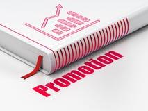 Concept de vente : graphique de croissance de livre, promotion dessus Photo stock