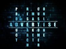 Concept de vente : le mot font de la publicité dans la solution Photographie stock