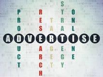 Concept de vente : le mot font de la publicité dans la solution Photos libres de droits