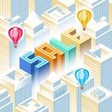 Concept de vente - main avec la loupe Paysage urbain illustration de vecteur