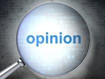 Concept de vente : Opinion avec le verre optique Photos stock