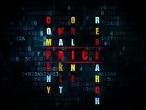 Concept de vente : prix de mot en résolvant des mots croisé Image stock