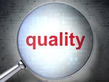 Concept de vente : Qualité avec le verre optique Photographie stock libre de droits