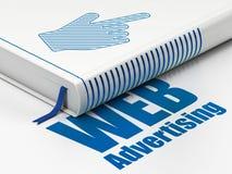 Concept de vente : réservez le curseur de souris, la publicité de WEB sur le fond blanc Photographie stock