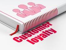 Concept de vente : réservez les gens d'affaires, fidélité de client sur le fond blanc Image libre de droits