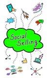 Concept de vente social sur le fond blanc illustration stock