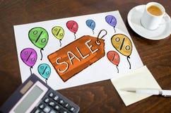 Concept de vente sur un papier Image libre de droits